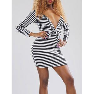 Striped Plunging Neck Long Sleeve Dress -
