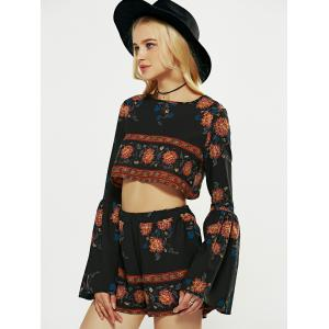 Long Flare Sleeve Crop Top and Print Shorts - BLACK L