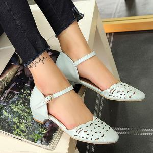 Round Toe Hollow Out Flat Shoes - BLUE 43