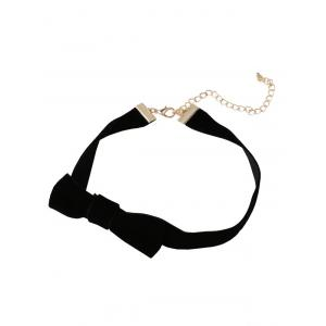 Velvet Strip Bowknot Embellished Choker Necklace -