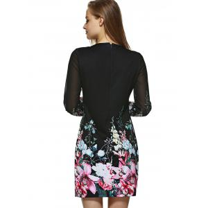 Long Sleeve Printed Floral Bodycon Dress -