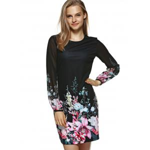 Long Sleeve Slimming Floral Dress - BLACK M