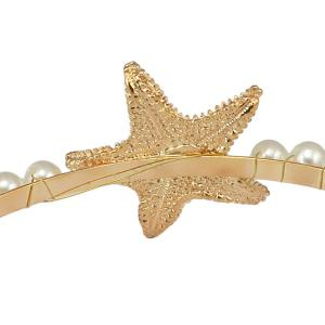Etched Starfish Faux Pearl Natural Stone Hairband -