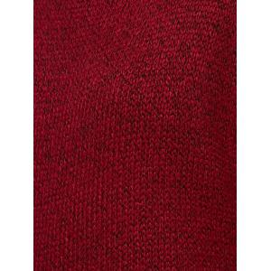Round Neck Ribbed Long Sweater - WINE RED ONE SIZE