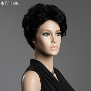 Sophisticated Short Siv Hair Fluffy Curly Real Human Hair Capless Wig - JET BLACK