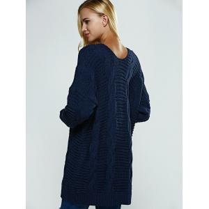 Collarless Loose-Fitting Textured Cardigan -