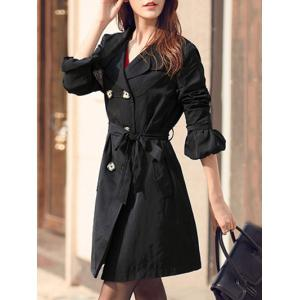 Puff Sleeve Belted Trench Coat -