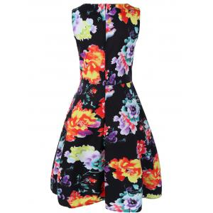 Retro Boat Neck Sleeveless Floral Print Flare Dress -