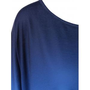 Gradient Color Smock Blouse - BLUE AND WHITE M