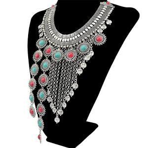 Faux Turquoise Round Chain Fringe Necklace -