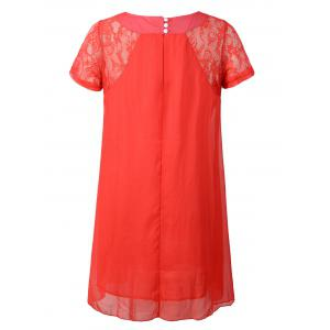 Lace Splicing Three Button Design Chiffon Dress -
