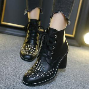 Stitch Rivet Chunky Heel Lace Up Ankle Boots - BLACK 39