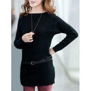 Extensible Belted Minceur Robe pull - Noir TAILLE MOYENNE