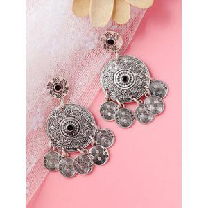 Alloy Engraved Round Pattern Drop Earrings - SILVER