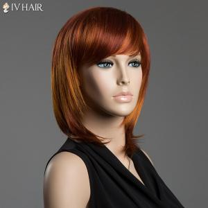 Straight Side Bang Siv Hair Capless Multi-Colored Medium Human Hair Wig - COLORMIX