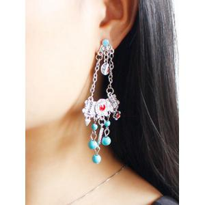 Engraved Geometric Floral Beads Drop Earrings - SILVER