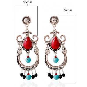 Faux Ruby Turquoise Water Drop Earrings - RED