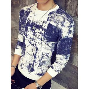 Abstract Painting Print Round Neck Long Sleeve Sweatshirt - BLUE M