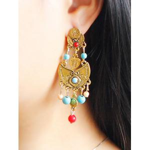 Alloy Beaded Antique Engraved Earrings -