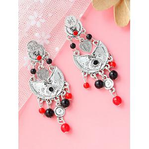 Alloy Beaded Antique Engraved Earrings - SILVER