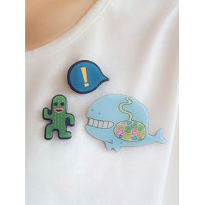 Whale Cactus Exclamation Point Pattern Brooches - GREEN