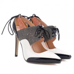 Tie Up Splicing Stiletto Heel Hollow Out Pumps -