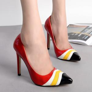Point Toe Color Block Pumps - RED 39