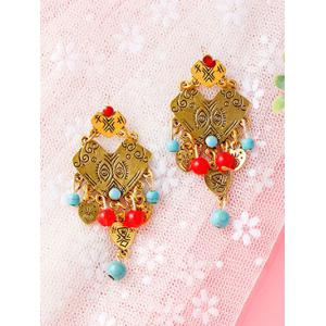 Engraved Eyes Pattern Heart Beaded Earrings - GOLDEN