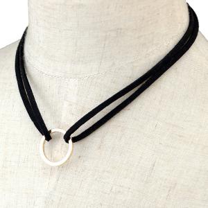 Circle Faux Leather Layered Necklace - BLACK