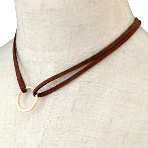 Circle Faux Leather Layered Necklace -