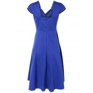 Retro Cape Sleeve Backless Sweetheart Neck Fit and  Flare Dress -