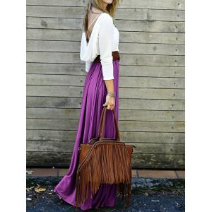 Maxi Long Sleeve Backless Pleated Prom Dress - PURPLE M