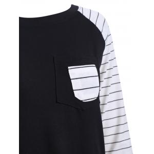Preppy Color Block Stripe Scoop Neck Sweatshirt - BLACK 2XL