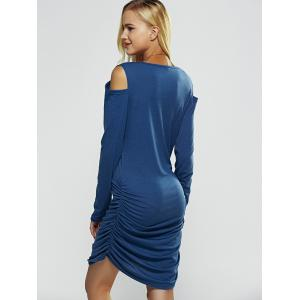 Cut Out Long Sleeve Bodycon Bandage Dress - BLUE S