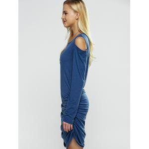 Cut Out Long Sleeve Bodycon Bandage Dress - BLUE XL