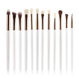 12 Pcs Goat Hair Eye Makeup Brush Set - WHITE