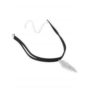 Faux Leather Alloy Feather Choker Necklace - BLACK