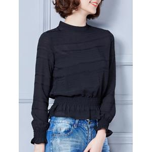 Stand Collar Flounce Shadow Striped Blouse -