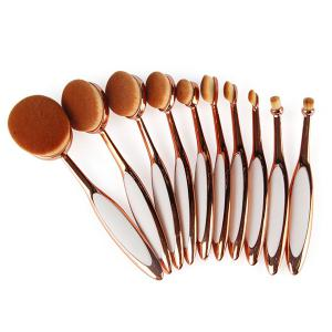 10 Pcs Toothbrush Shape Nylon Face Eye Lip Makeup Brush Set - ROSE GOLD