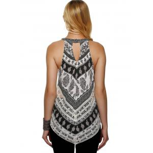 Fashionable Round Neck Print Loose-Fitting Tank Top -