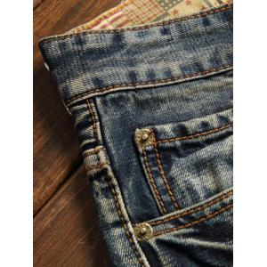 Frayed Zipper Fly Five-Pocket Straight Leg Ripped Jeans - BLUE 32