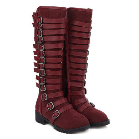 Multi Buckles Suede Design Mid-Calf Boots - Wine Red - 37