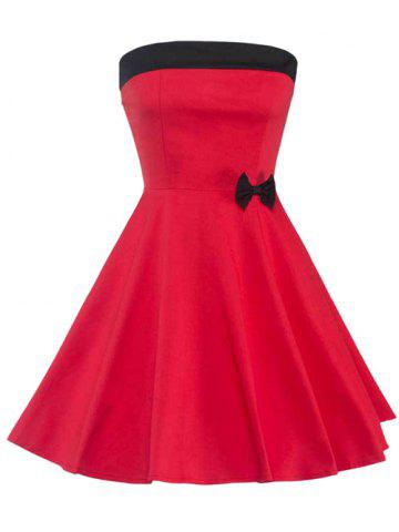 Latest Strapless Lace Up Bowknot Embellished Formal Dress