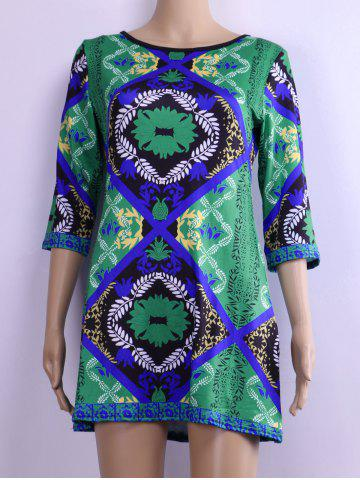 Buy Back Zipped Floral Print Loose Dress GREEN S