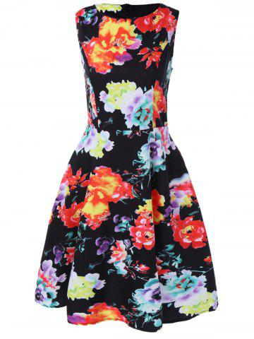 Sale Retro Boat Neck Sleeveless Floral Print Flare Dress