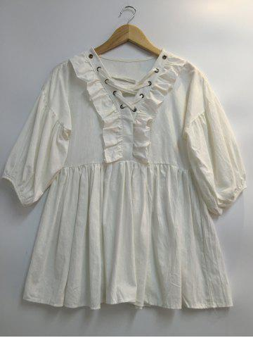 Store Puff Sleeves Lace Up Flounce Dress