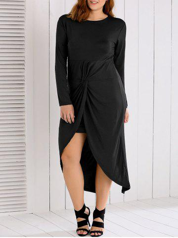 Unique Long Sleeves Twisted Asymmetrical Dress BLACK 3XL