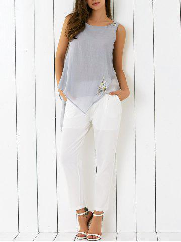 Best Embroidered Asymmetrical Tank Top and Pants Set
