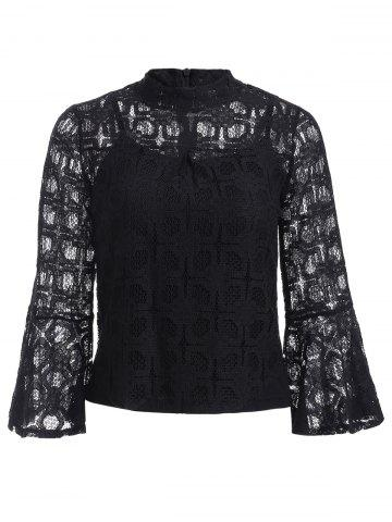 Store Flare Sleeves Lace See-Through Blouse