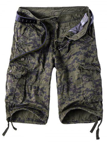 Unique Camouflage Straight Leg Multi-Pocket Zipper Fly Cargo Shorts For Men CAMOUFLAGE 3XL